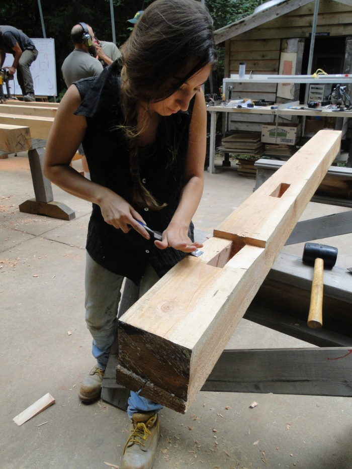 Myself cleaning a mortise