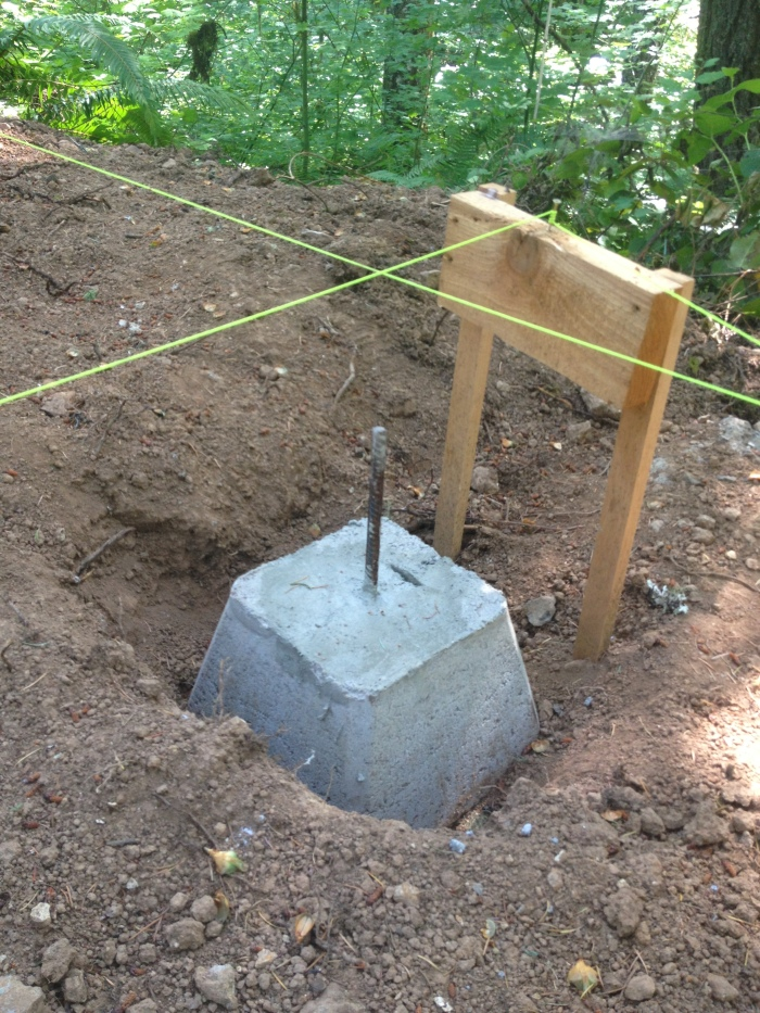 Digging and leveling foundation blocks